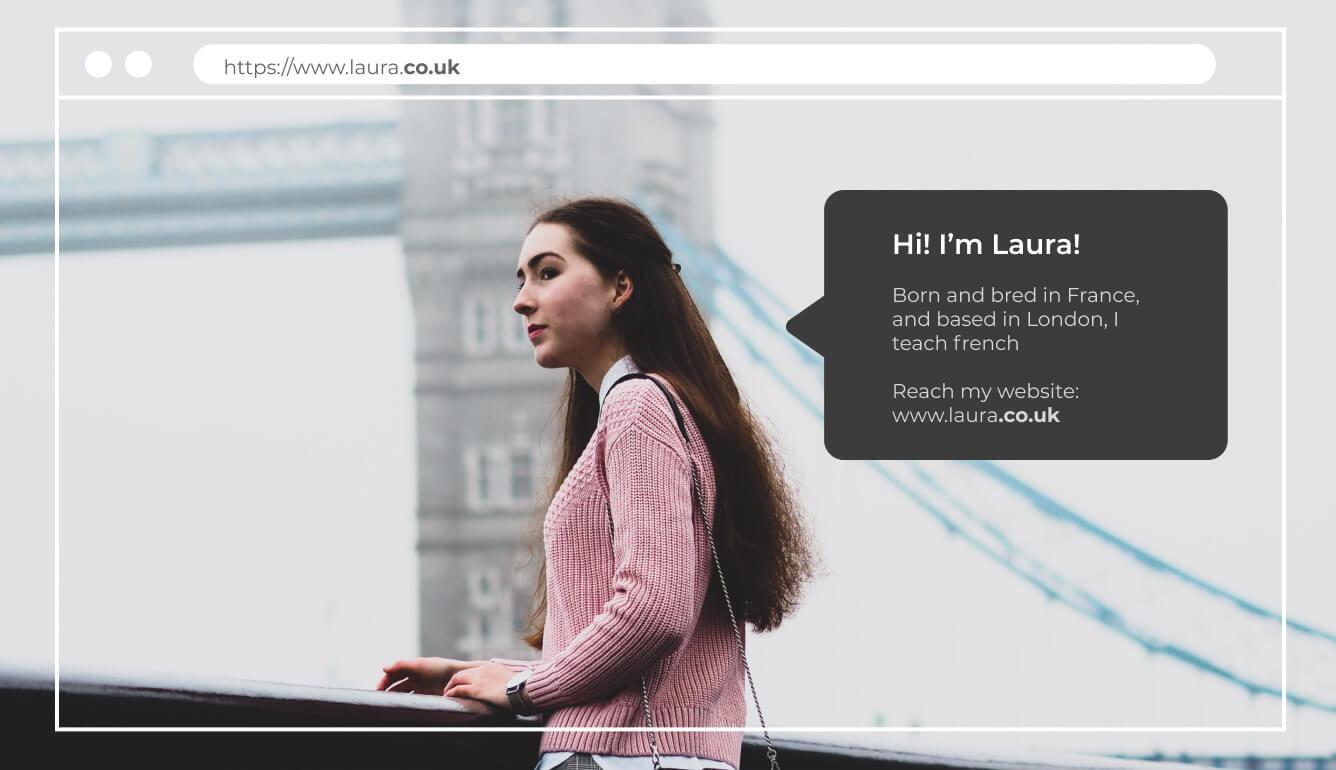 Long hair brunette pink jumper explaining her TLD is .co.uk
