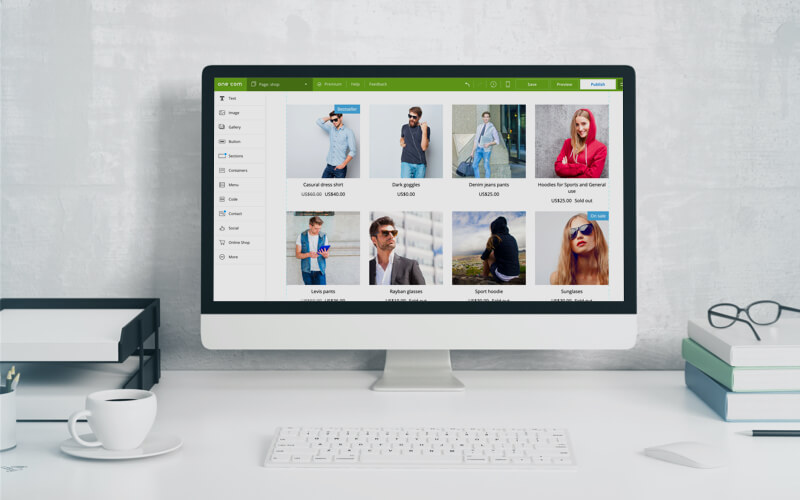 Products in an online shop